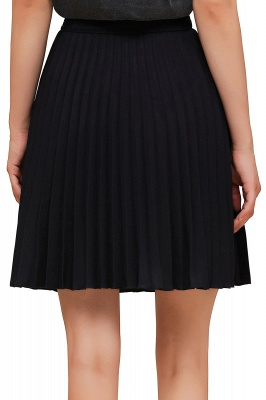 A-line Knitted Knee Length Pleated Skirt_124