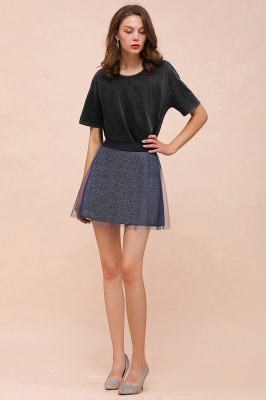 Sparkly A-line Above Knee Metallic Skirt_22