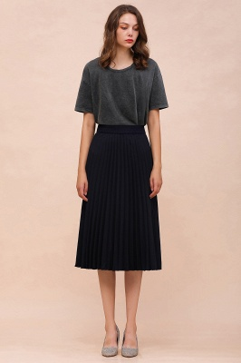 A-line Knitted Short Pleated Skirt_43