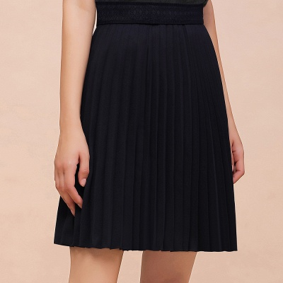 A-line Knitted Knee Length Pleated Skirt_9
