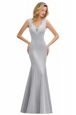 Glittery Deep V-neck Sleeveless Pink Floor-length Long Evening Dresses_4