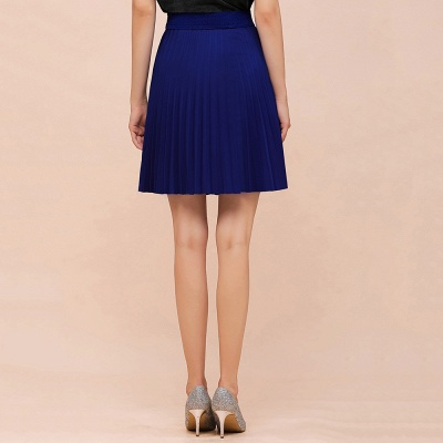 A-line Knitted Knee Length Pleated Skirt_81