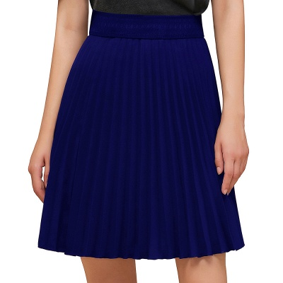 A-line Knitted Knee Length Pleated Skirt_26