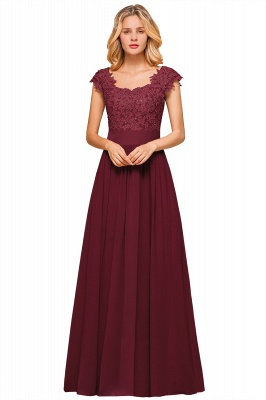 Cap Sleeve Scoop Lace Beading Floor Length Formal Evening Dresses | A Line Chiffon Sexy Prom Dresses_3