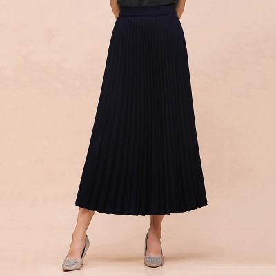 Knitted A-line Tea Length Pleated Skirt_4