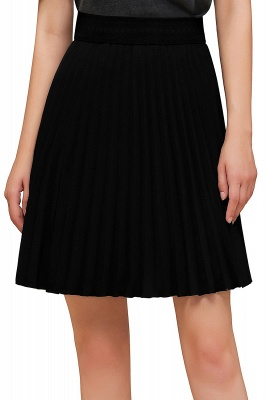 A-line Knitted Knee Length Pleated Skirt_131