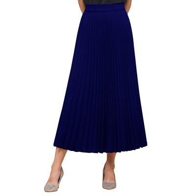 Knitted A-line Tea Length Pleated Skirt_9