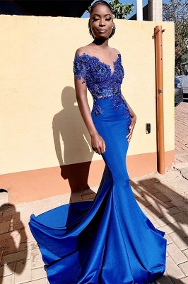 Royal Blue Bateau Short Sleeve Appliques Mermaid Ruffles Prom Dresses | Formal Evening Dresses_1