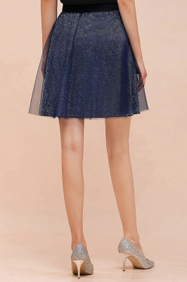 Sparkly Knee Length Metallic A-line Skirt_11