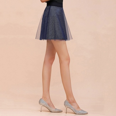 Sparkly A-line Above Knee Metallic Skirt_14