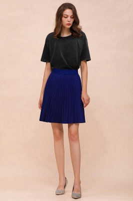 A-line Knitted Knee Length Pleated Skirt_90