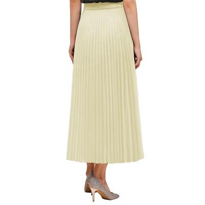 Knitted A-line Tea Length Pleated Skirt_8