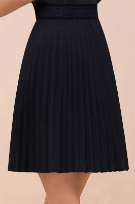 A-line Knitted Knee Length Pleated Skirt_116