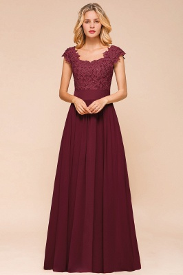Cap Sleeve Scoop Lace Beading Floor Length Formal Evening Dresses | A Line Chiffon Sexy Prom Dresses_13