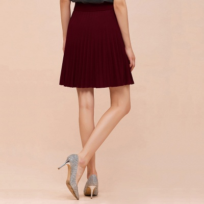 A-line Knitted Knee Length Pleated Skirt_53