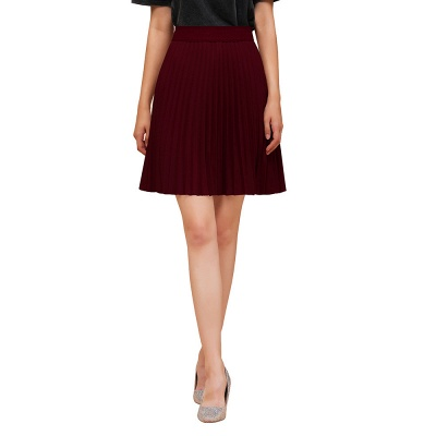 A-line Knitted Knee Length Pleated Skirt_49