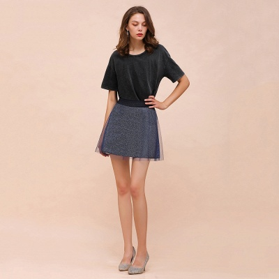 Sparkly A-line Above Knee Metallic Skirt_12