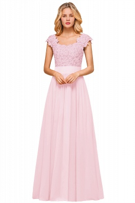 Cap Sleeve Scoop Lace Beading Floor Length Formal Evening Dresses | A Line Chiffon Sexy Prom Dresses_1