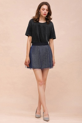 Sparkly A-line Above Knee Metallic Skirt_38