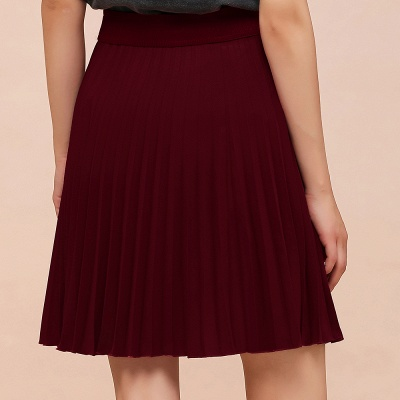 A-line Knitted Knee Length Pleated Skirt_60