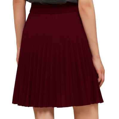 A-line Knitted Knee Length Pleated Skirt_62