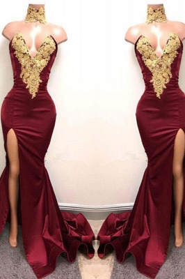 Gorgeous Burgundy Mermaid Prom Dresses Gold Lace Appliques Side Slit Evening Gowns_2