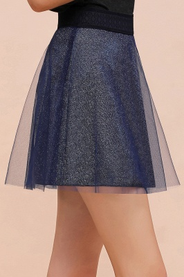 Sparkly A-line Above Knee Metallic Skirt_29
