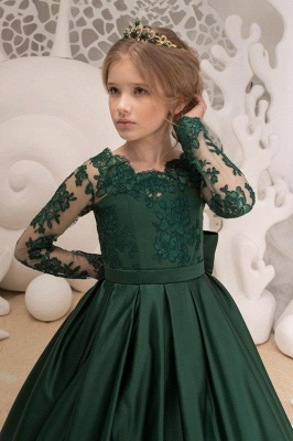 Dark Green Square Lace Long Sleeve Backless Ruffles A Line Flower Girl Dresses | Backless Sash Dress With Bow_3