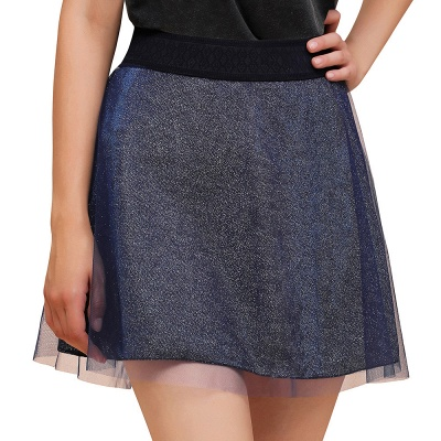 Sparkly A-line Above Knee Metallic Skirt_10