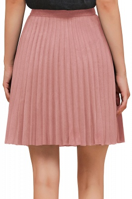A-line Knitted Knee Length Pleated Skirt_132