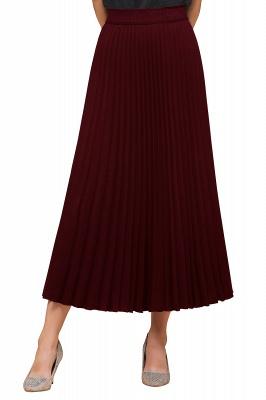 Knitted A-line Tea Length Pleated Skirt_32
