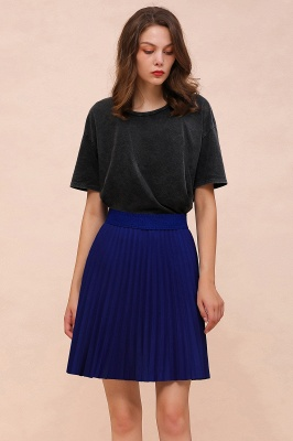 A-line Knitted Knee Length Pleated Skirt_154