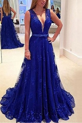 Elegant V-Neck Sleeveless Prom Dresses | Backless Royal Blue Evening Dresses_2