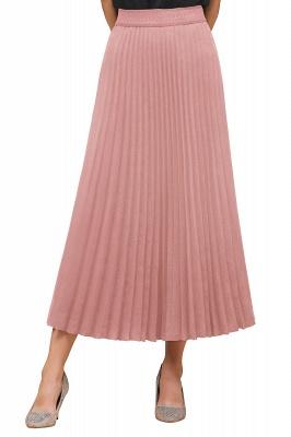 Knitted A-line Tea Length Pleated Skirt_30