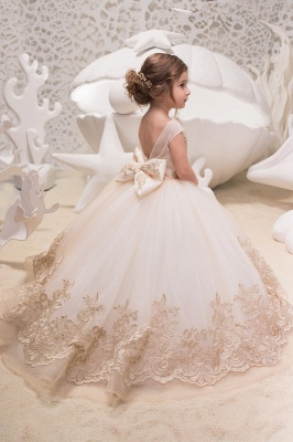 Sweet Scoop Cap Sleeve Applique Bow Ball Gown Flower Girl Dresses | Backless Puffy Little Girl Dresses For Wedding Party_2