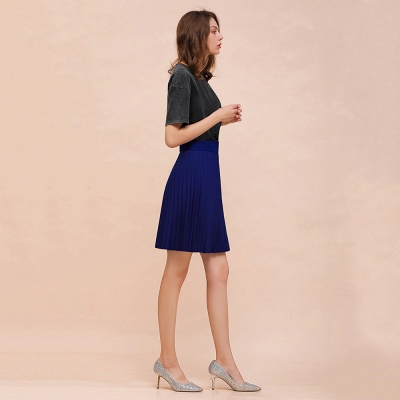 A-line Knitted Knee Length Pleated Skirt_82