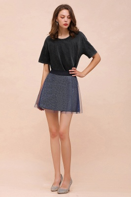 Sparkly A-line Above Knee Metallic Skirt_36