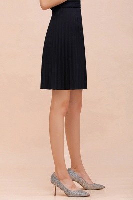 A-line Knitted Knee Length Pleated Skirt_97