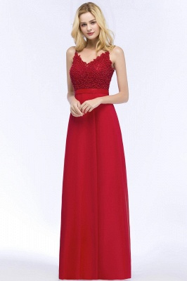 Spaghetti Straps V-Neck Chiffon Lace Evening Dress On Sale_9