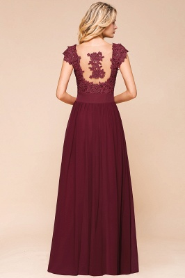 Cap Sleeve Scoop Lace Beading Floor Length Formal Evening Dresses | A Line Chiffon Sexy Prom Dresses_10