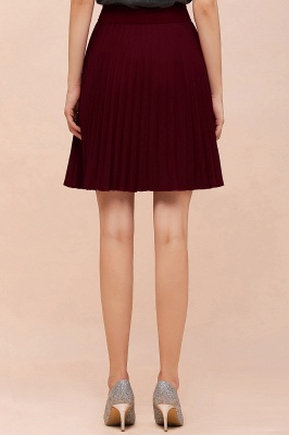 A-line Knitted Knee Length Pleated Skirt_144