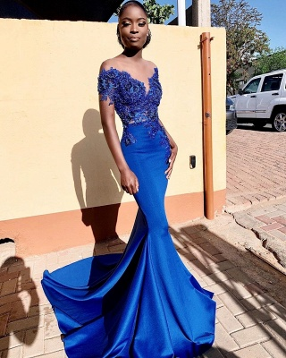 Royal Blue Bateau Short Sleeve Appliques Mermaid Ruffles Prom Dresses | Formal Evening Dresses_2