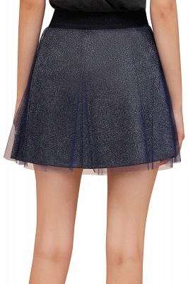 Sparkly A-line Above Knee Metallic Skirt_40