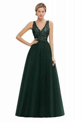 Sleeveless A-line Sequin Tulle Prom Dresses | Cheap Evening Dress_5