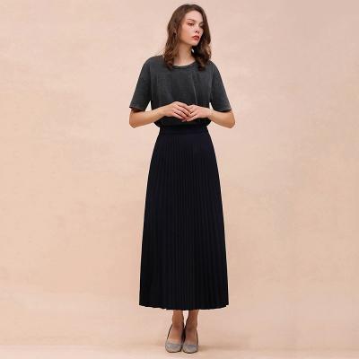 Knitted A-line Tea Length Pleated Skirt_18