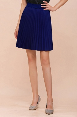 A-line Knitted Knee Length Pleated Skirt_87