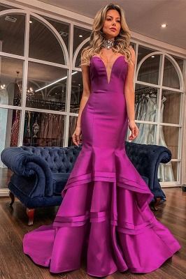Sweetheart Sleeveless Backless Ruffles Tiered Floor Length Mermaid Zipper Prom Dresses_1
