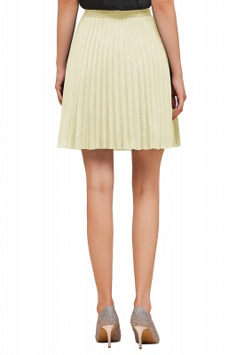 A-line Knitted Knee Length Pleated Skirt_110