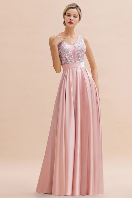 Pink Straps V Neck Beading Crystals A Line Floor Length Ruffles Prom Dresses | Backless Sash Evening Dresses_12