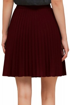 A-line Knitted Knee Length Pleated Skirt_134